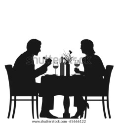 silhouette couple restaurant dining table vector sitting wine drinking shutterstock