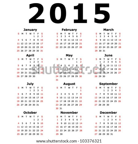 Simple 2015 Calendar (Eps 10) Stock Vector Illustration