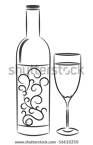 Wine Bottle And Glass.Raster Stock Photo 56610250