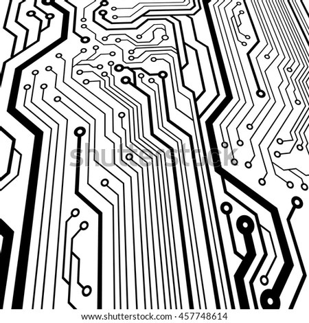 Circuit board pattern black-and-white.… Stock Photo