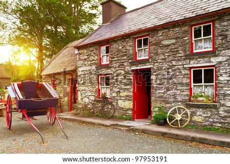 Traditional Irish cottage house architecture - stock photo