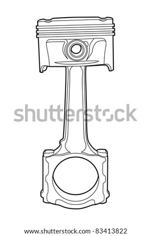 Black Outline Vector Illustration (Engine Pistons