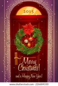 Door Decoration. Christmas Card Poster Banner. Vector ...
