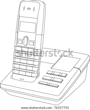 Line Drawing Of A Wireless Telephone/Answer Machine In Its