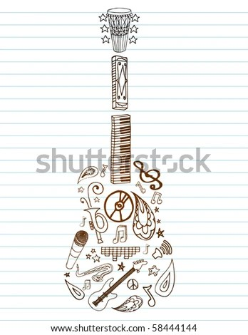 Selection Of Hand Drawn Music Doodles Make Up Guitar Shape