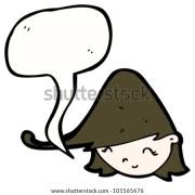 cartoon big hair girl talking stock