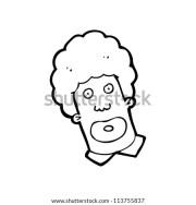 cartoon man with big hair stock