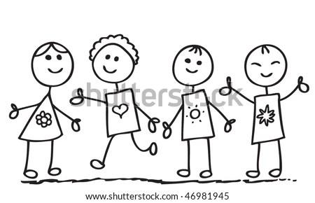 Funny Doodle Children Stock Vector Illustration 46981945