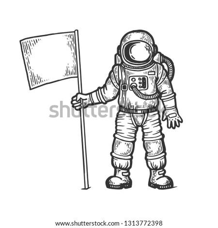 Cartoon astronaut with blank flag.… Stock Photo 209195818