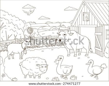 Black and White Cartoon Illustration of… Stock Photo
