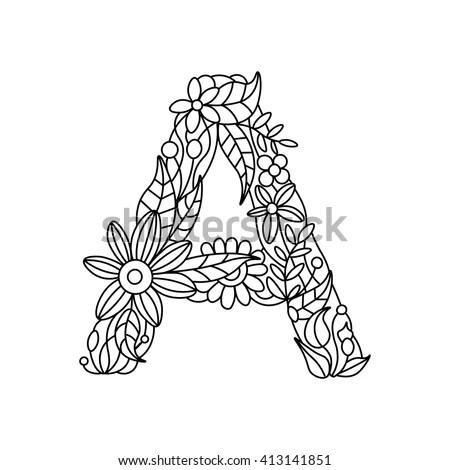 Floral Alphabet Letters Vector Graphics