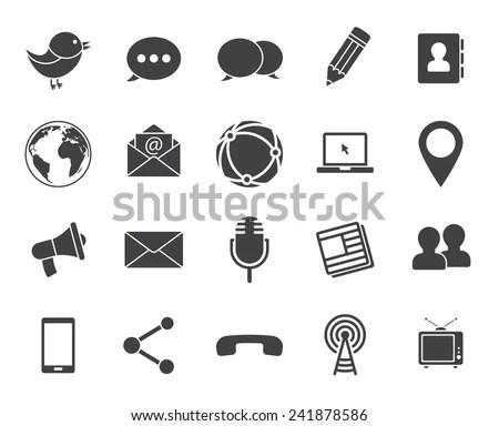 Media And Communication Icons (Modern Flat Design) Stock