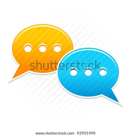 stock vector : Satin smooth sticker chat room icon. Yellow and blue color web button. Strip speech bubbles shape with shadow on white background. This vector illustration saved in 10 eps