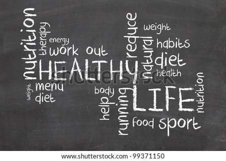 stock photo : Healthy Life words on blackboard