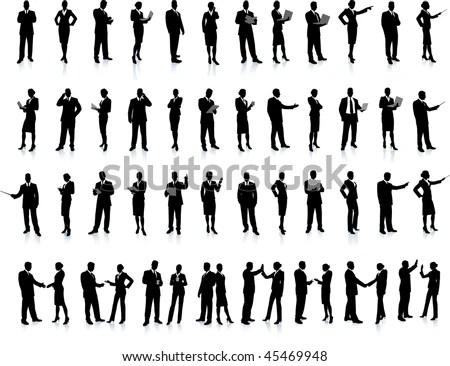 stock vector : Business People Silhouette Super Set 52 unique high-detailed silhouettes featuring beautiful sexy models Each Silhouette is grouped File is AI 8 compatible and easy to manage
