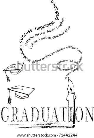 Graduation With Mortar And Candle With Stylized Words