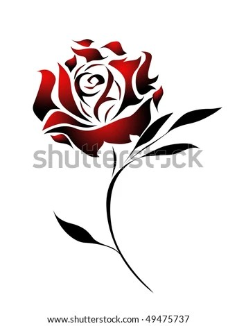 stock photo : Red rose tattoo design with path