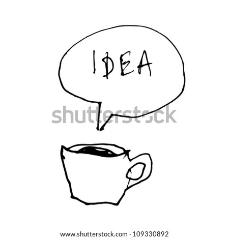 Coffee Cup Symbol With Idea Word In Speech Bubble. Hand
