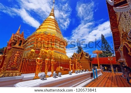 Wat Phra That Doi Suthep is a major tourist destination of Chiang Mai, Thailand. - stock photo