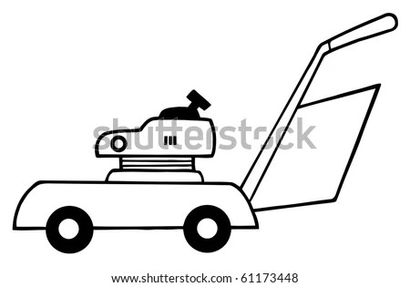 Outlined Lawn Mower Stock Vector Illustration 61173448