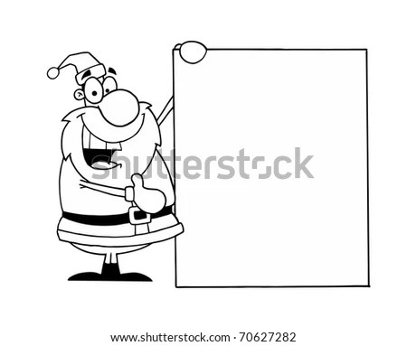 Black And White Coloring Page Outline Of Santa Holding A