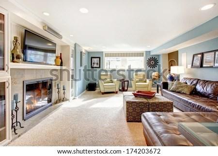 light blue carpet living room Light Blue Living Room With Leather Furniture Set, Beige