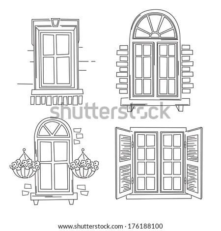 Window Drawing & Seamless Windows Seamless Pattern