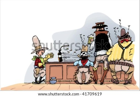 stock vector : Saloon inside with cowboys