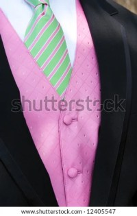 Tuxedo With Pink Vest And Green And Pink Tie Stock Photo ...
