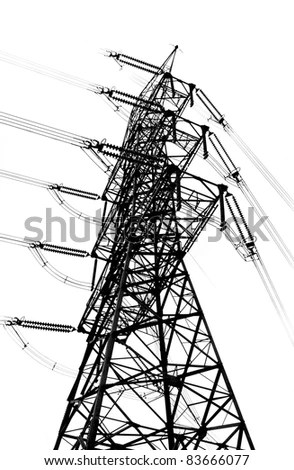 A Large Electricity Transmission Pylon Seen In Outline
