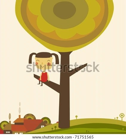 stock vector : girl climb a tree
