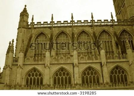Ancient Gothic Church Parapet