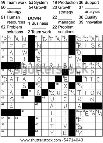 A Crossword Puzzle With Business Plan Words As Clues And