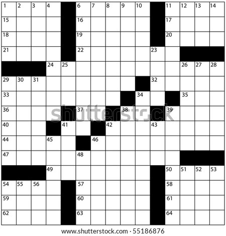 A Blank Newspaper Style Crossword Puzzle With Numbers In