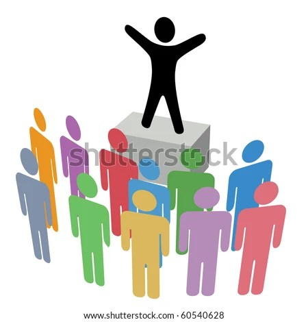 stock vector : A person makes an Announcement Communication to a group on a Campaign Soapbox