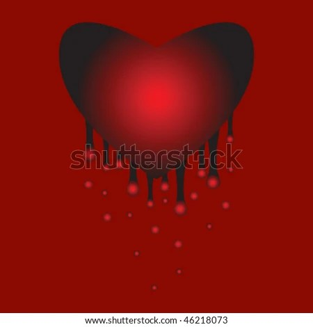 Bleeding heart. Pain. The loss of love. Background. - stock vector