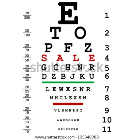 Sign for eye test use by doctors Stock Photo 55686898