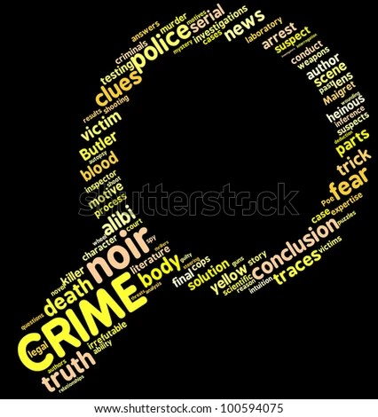 Investigation Symbol Tag Cloud / Investigation Lens Symbol Tag Cloud With Yellow Words Over A Black Background Stock Photo 100594075 : Shutterstock