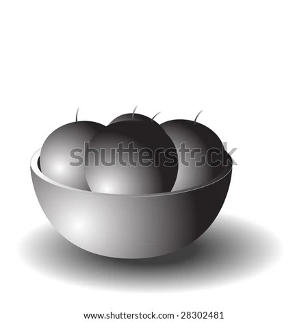 Black And White Fruit Bowl Stock Photo 28302481 : Shutterstock