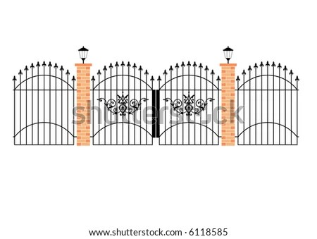 Illustration Of Elegant Wrought Iron Gates With Brick