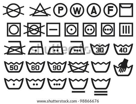Set Of Washing Symbols (Washing Instruction Symbols