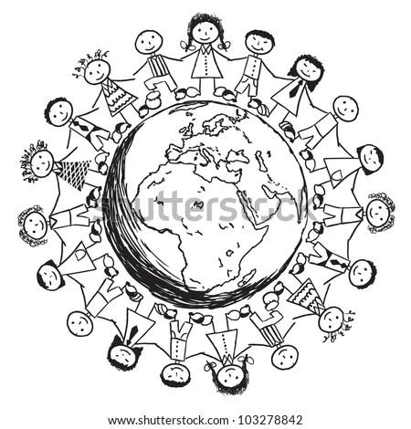 Royalty-free Doodle Children around the World