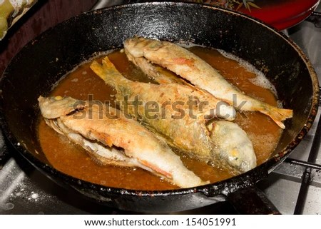 pan fried perch - stock photo
