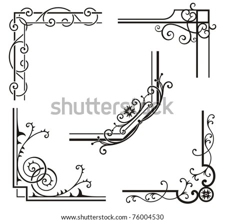 A Set Of Exquisite Corner Ornamental Designs. Stock Vector