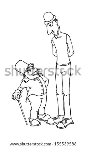 Black And White Outline, Short And Tall Cartoon Characters