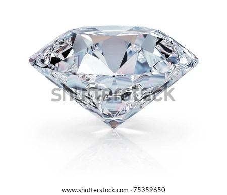 A beautiful sparkling diamond on a light reflective surface. 3d image. Isolated white background. - stock photo