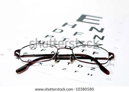 Glasses On Eye Snellen Eye Chart Stock Photo 10380580