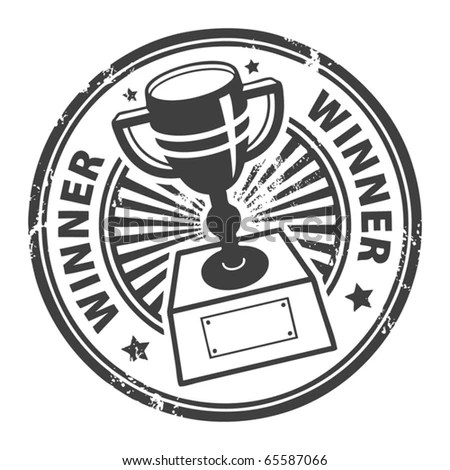 Grunge Rubber Stamp With Winner Cup And The Word Winner