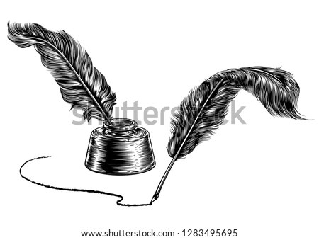 Paper scroll, feather and books in a… Stock Photo