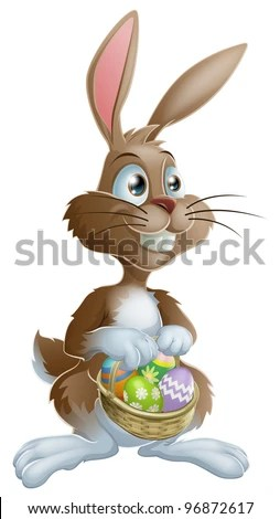 stock vector : Easter bunny rabbit holding Easter basket full of decorated Easter eggs